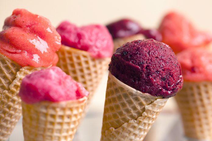 Fruit ice-cream in ice-cream cones.; Shutterstock ID 144297058; Job (TFH, TOH, RD, BNB, CWM, CM): Taste of Home