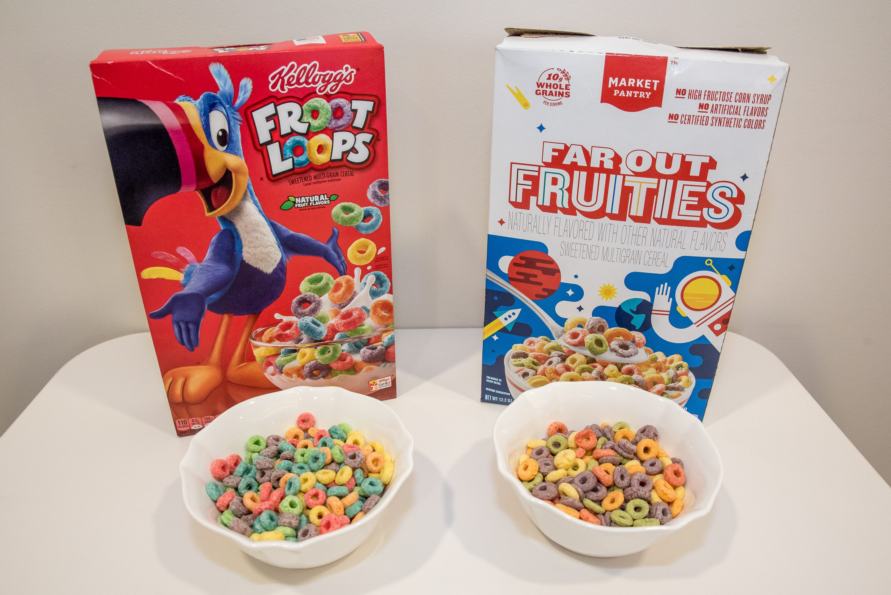 kellogg's froot loops vs market pantry far our fruities cereal generic vs name brand cereal