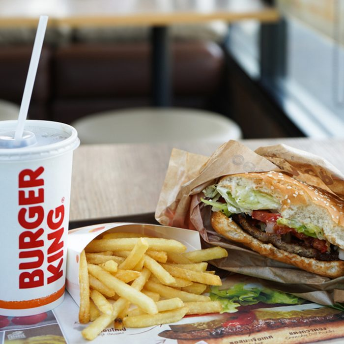 Burger King Cola Cup, Potato french fries and Whopper Hamburger in Burger King restaurant.