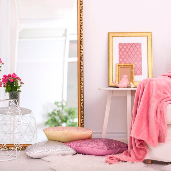 Bedroom with huge mirror