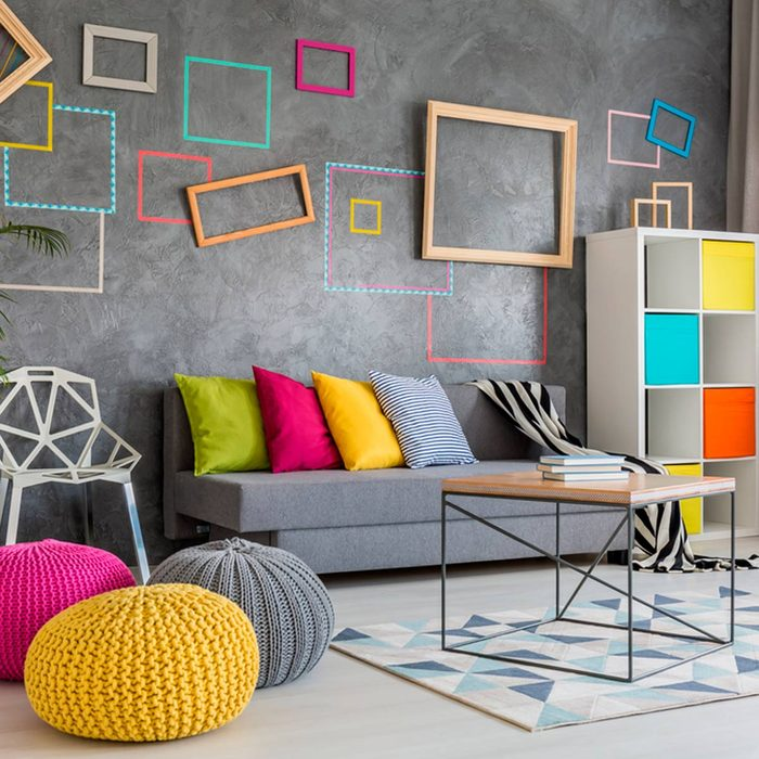 Room with brightly colored accessories