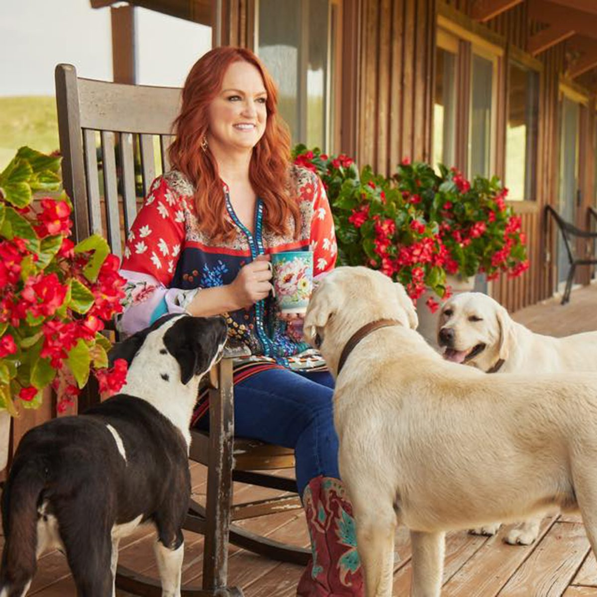 Ree Drummond with three dogs