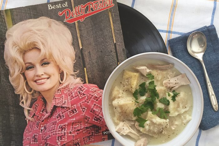 dolly parton's chicken and dumplings with her cookbook