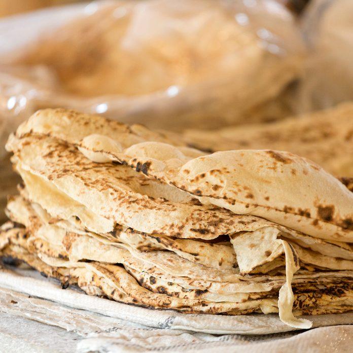 A pile of freshly baked Armenian lavash bread.