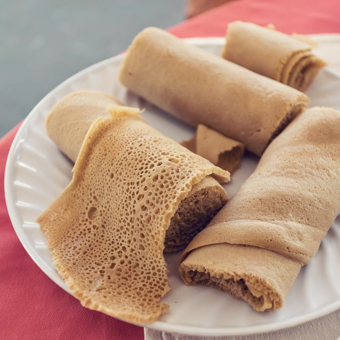 A plate of Ethiopian injera, a spongy, fermented bread.
