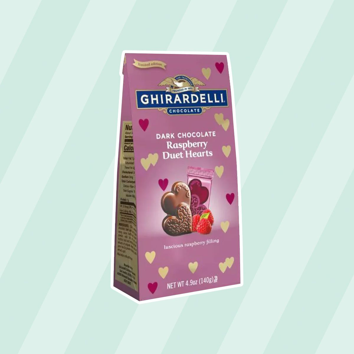 valentine's day candy Ghirardelli Dark Chocolate Raspberry Duet Hearts