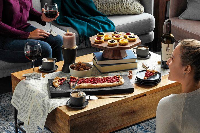 Book Club Party Setting; Chocolate-Caramel Rum Coffee; Jam-Topped Mini Cheesecakes; Rustic Chocolate Raspberry Tart