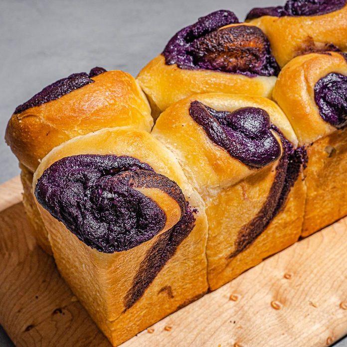 A loaf of Filipino purple ube bread.