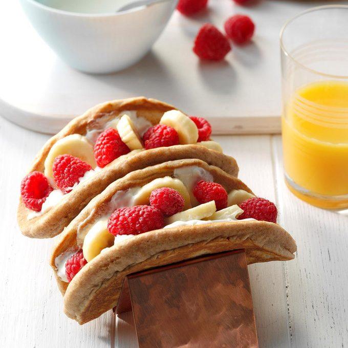 Raspberry-Banana Breakfast Tacos