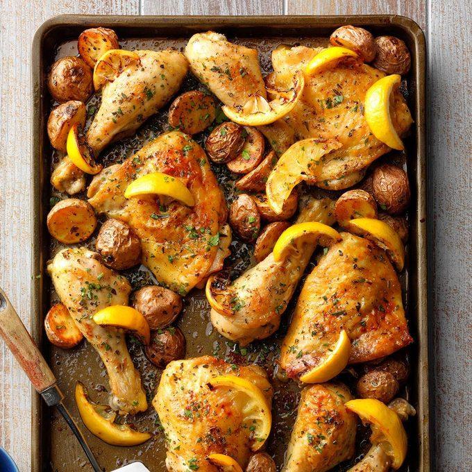 Sheet Pan Lemon Garlic Chicken  Exps Sdam19 232898 B12 05 6b 7