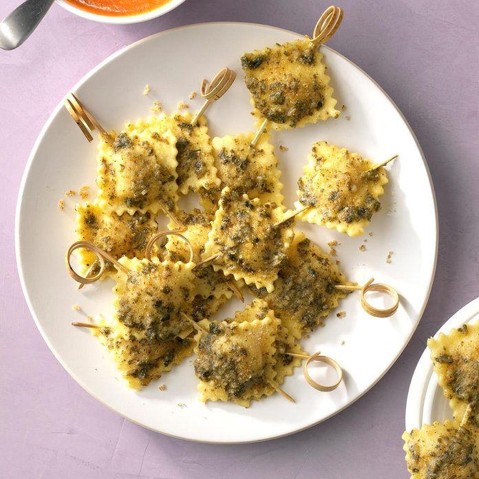 Skewered Ravioli with Creamy Tomato Dipping Sauce