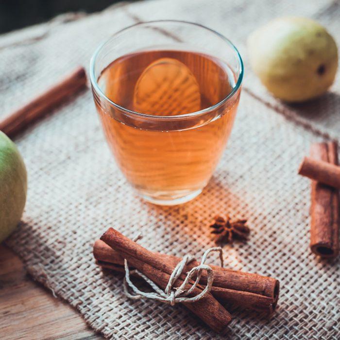 Hot apple cider beverage.