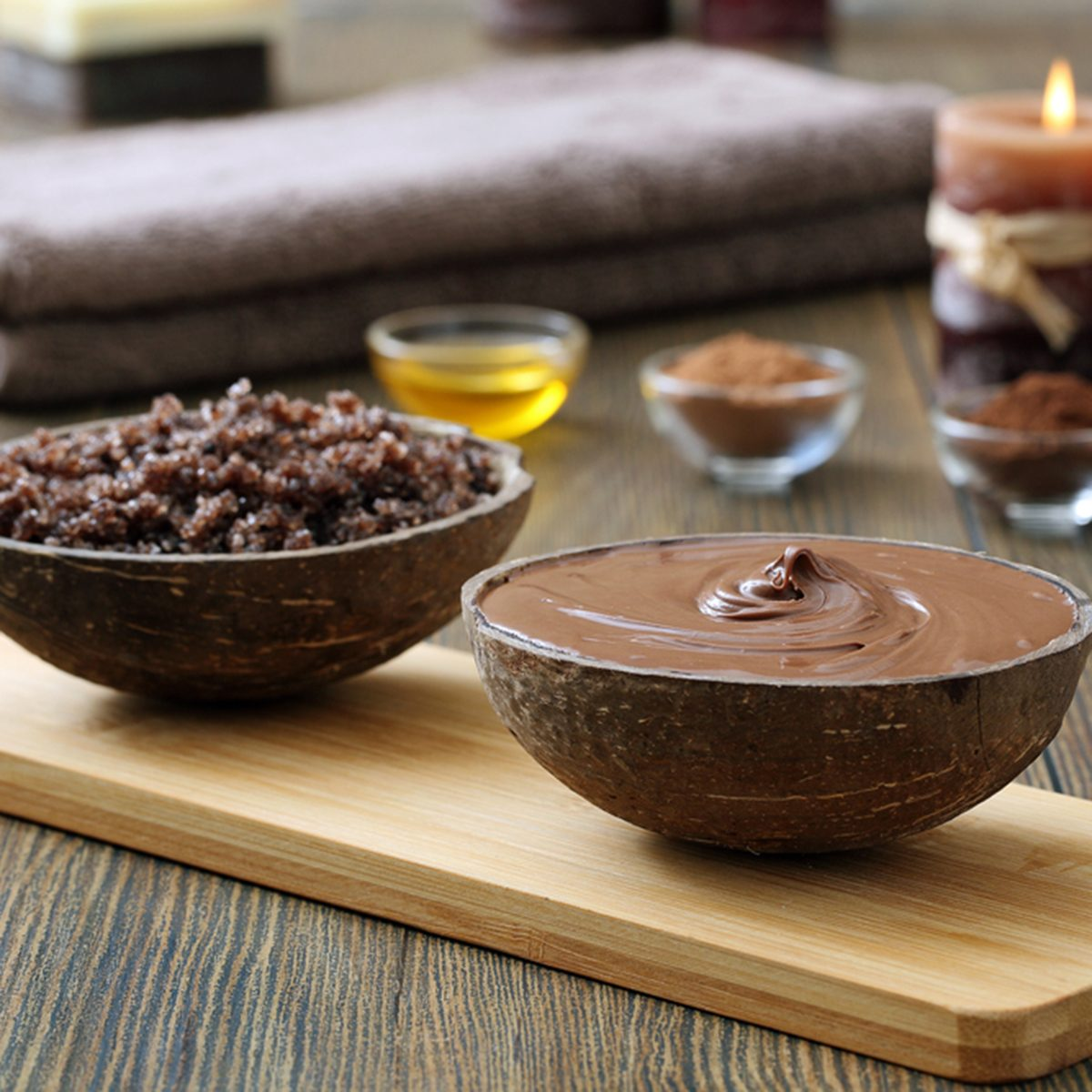chocolate spa- and aroma therapy on wood background
