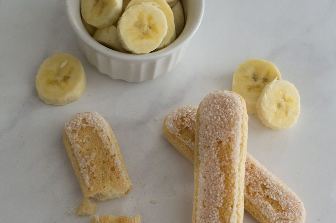 Lady fingers and banana slices