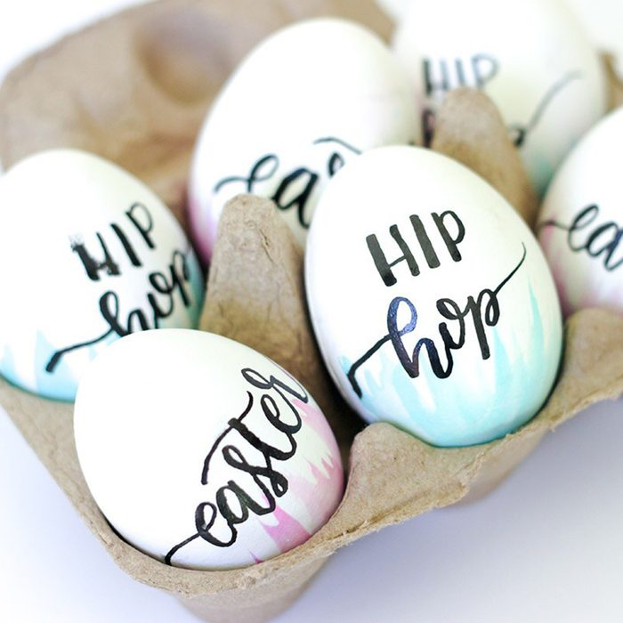 Hand lettered and watercolored Easter eggs