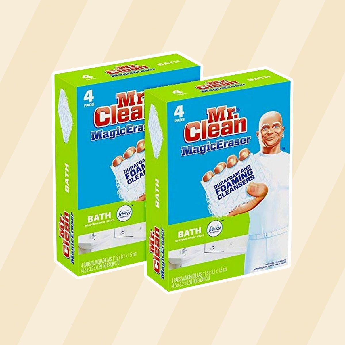 Mr. Clean Magic Eraser Bath Scrubber, 4Count (Pack of 2)