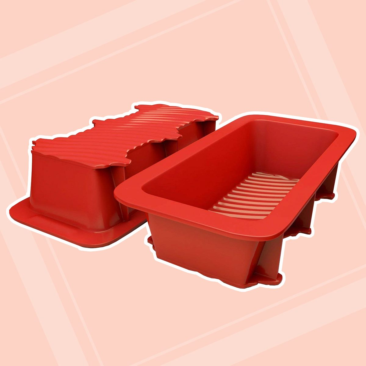 Silicone Bread and Loaf Pan Set of 2 Red, Nonstick