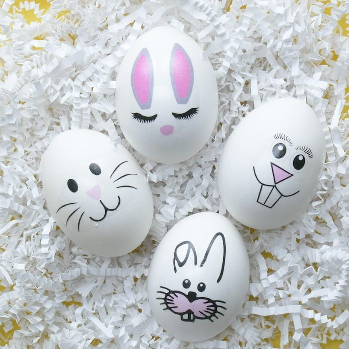 Decorating easter egg ideas with bunny tattoos