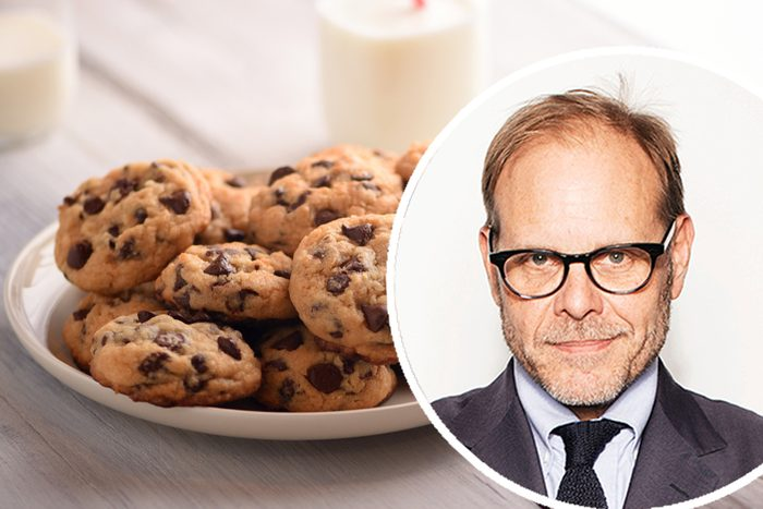 """Pile of Delicious Chocolate Chip Cookies on a White Plate with Milk Bottles; Shutterstock ID 1147305941; Job (TFH, TOH, RD, BNB, CWM, CM): TOH Victoria Will/Invision/AP/REX/Shutterstock Mandatory Credit: Photo by Victoria Will/Invision/AP/REX/Shutterstock (9112648e) Alton Brown poses for a portrait in New York to promote his cookbook, """"EveryDayCook: This Time It's Personal,"""" and a live Broadway variety show with a mix of unusual food demonstrations, puppets and songs Alton Brown Portrait Session, New York, USA"""