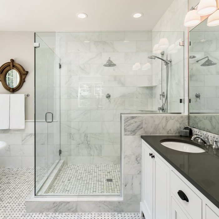 Large bathroom with a shower