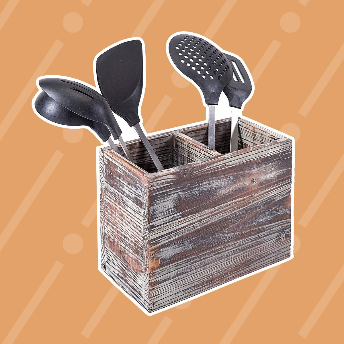 Torched Wood Utensil Box