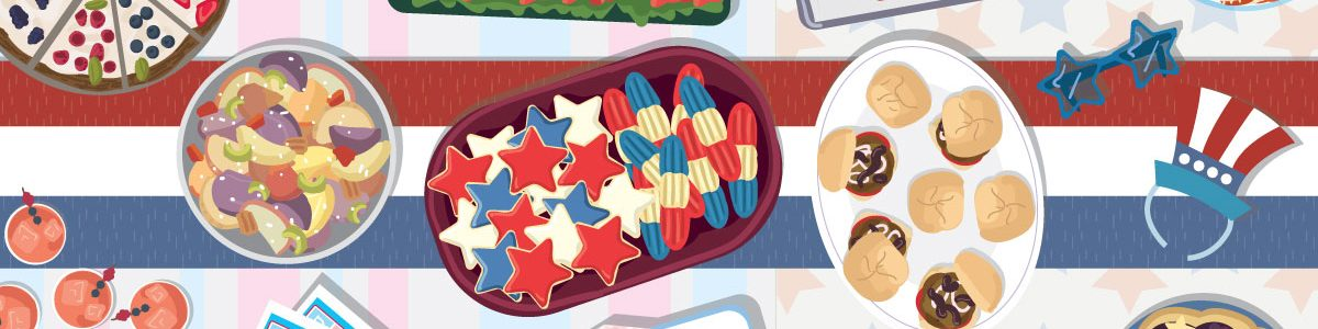 Illustration of assorted on a Fourth of July themed table with various red,white and blue objects