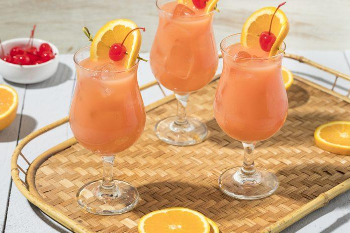 Homemade Hurricane Drink with Rum and Orange Juice