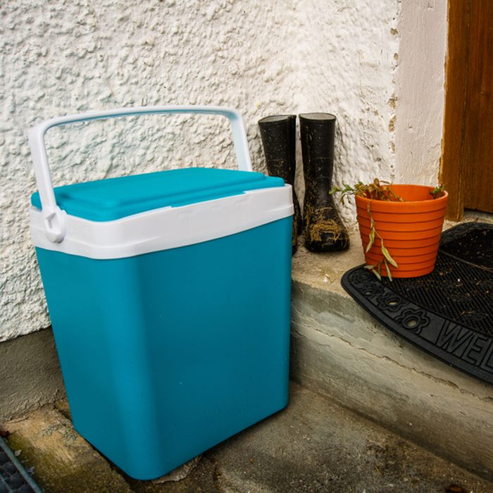 Still life of cooler with rubber boots and flower pot standing outside; Shutterstock ID 1185474436; Job (TFH, TOH, RD, BNB, CWM, CM): TOH