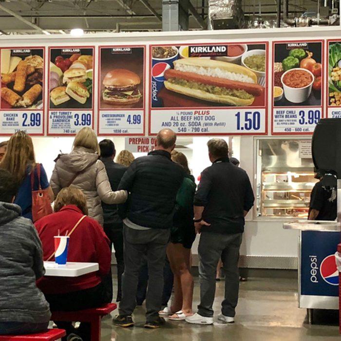 FOLSOM, CA, USA - OCT 8, 2018: Costco food court by the new self serve kiosk full of customers .; Shutterstock ID 1200836155; Job (TFH, TOH, RD, BNB, CWM, CM): TOH
