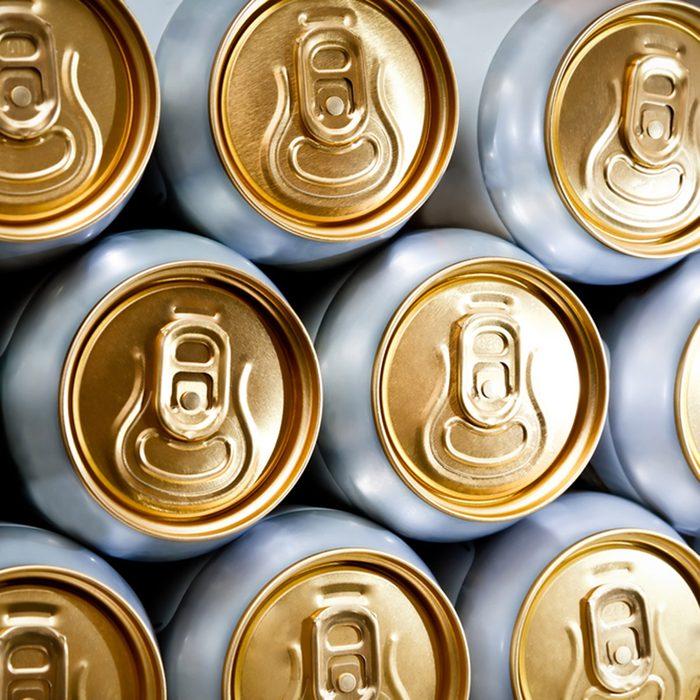 metal beer cans background