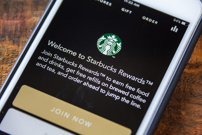 LAS VEGAS, NV - September 22. 2016 - Starbucks App On Apple iPhone Screen. Splash Screen Display. Selective Focus.; Shutterstock ID 487851379