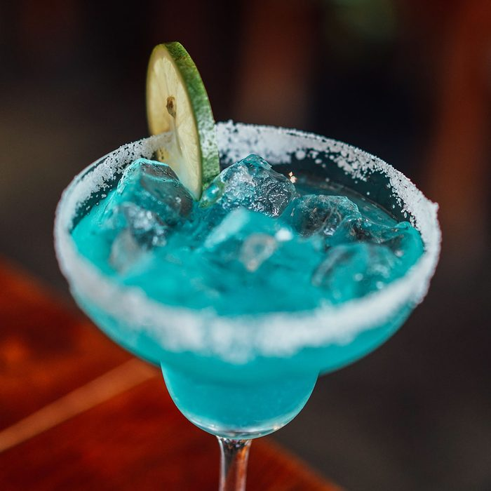 Glass of drink cocktail blue