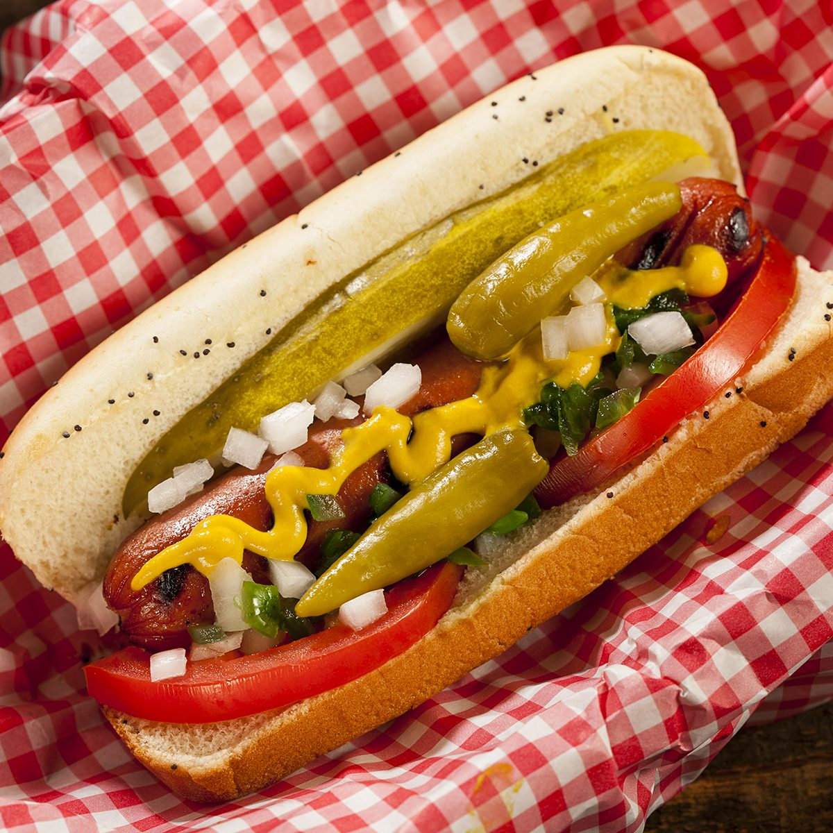 Chicago Style Hot Dog with Mustard, Pickle, Tomato, Relish and Onion;