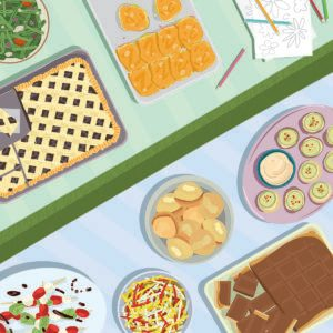Illustration of assorted food on two tables