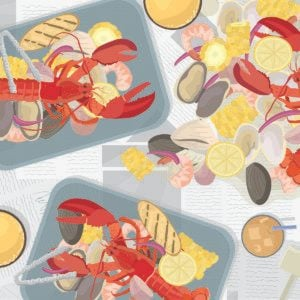 Illustration of assorted seafood on newspaper covered table