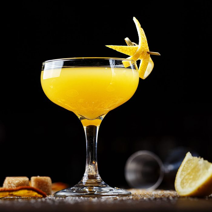 Golden glow drink on the bar