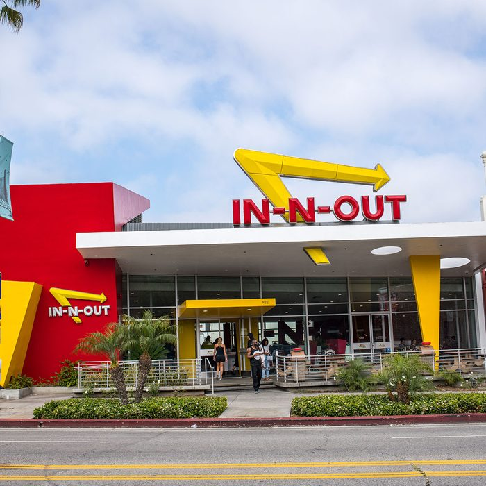 In-N-Out Burger fast food restaurant in Westwood, California.