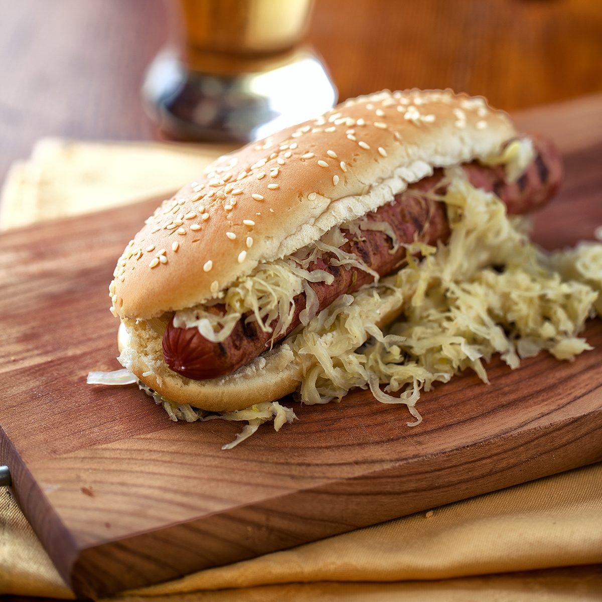 Sandwich with sausage and sauerkraut