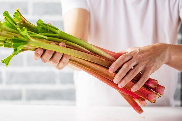 cropped shot of person holding fresh rhubarb stalks