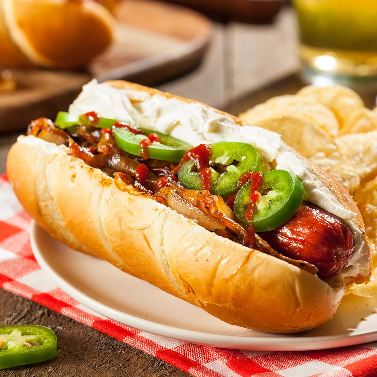 Homemade Seattle Style Hot Dog with Cream Cheese and Onions