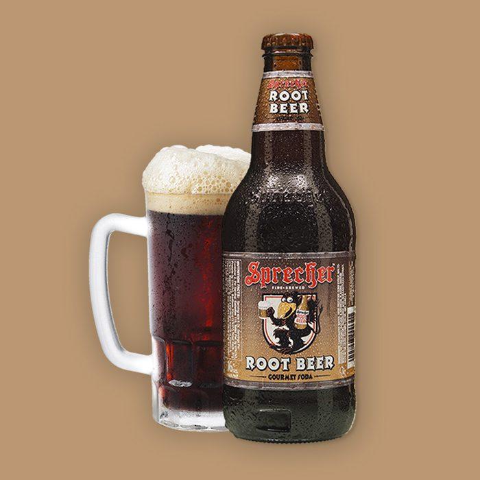 Sprecher root beer in a glass