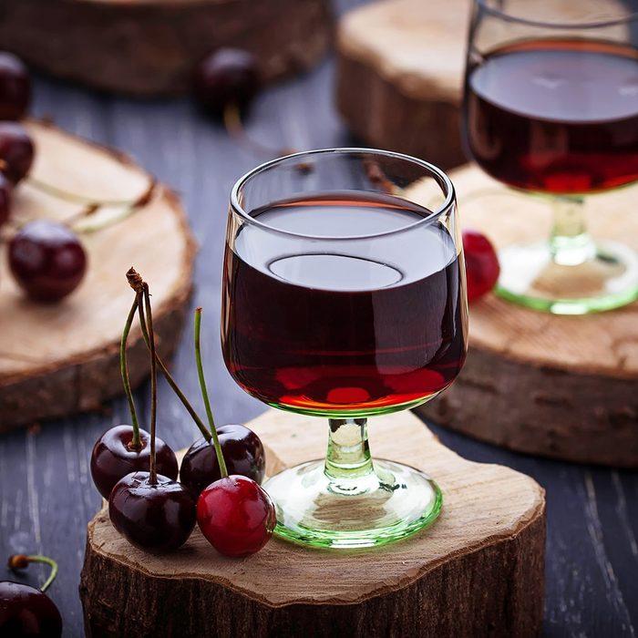 Glasses of cherry liquor.