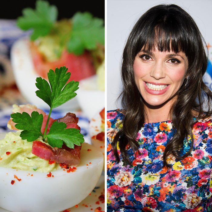 deviled eggs appetizer with avocado and bacon; Shutterstock ID 735104188; Job (TFH, TOH, RD, BNB, CWM, CM): TOH Mandatory Credit: Photo by Charles Sykes/Invision/AP/REX/Shutterstock (9099681e)Aida Mollenkamp attends the launch of Resource Natural Spring Water on in New York Resource Natural Spring Water Launch, New York, USA