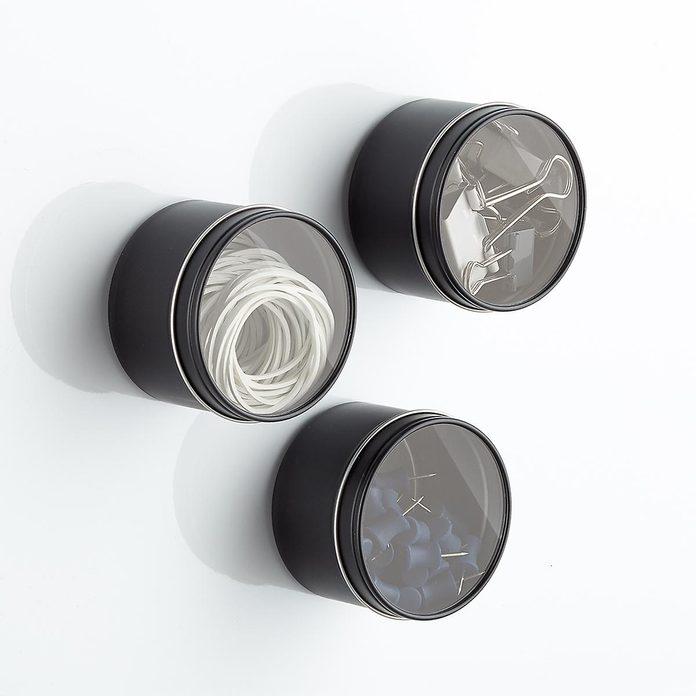 kitchen storage & organization Round Magnetic Tin Bins Wit