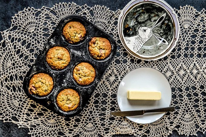Strawberry banana muffins and stick of butter