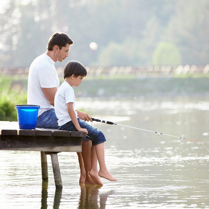 Man and boy fishing on the lake; Shutterstock ID 85363498; Job (TFH, TOH, RD, BNB, CWM, CM): Taste of Home