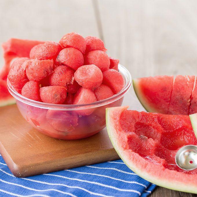 Fruit salad with watermelon balls.