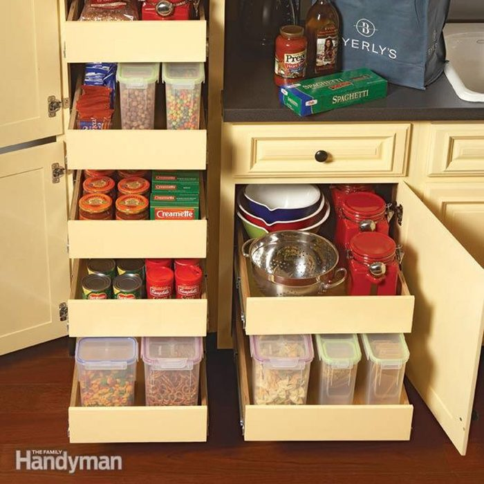 Organized drawers with tupperware