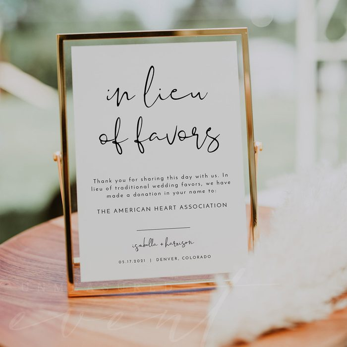 wedding thank you gifts Adella In Lieu Of Favors Sign Printable