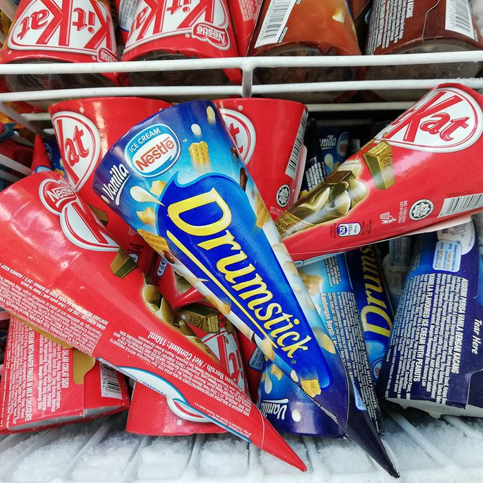 Assorted type of Kit Kat ice cream produced by Nestle inside freezer display at grocery store pictured on Feb 27, 2018.